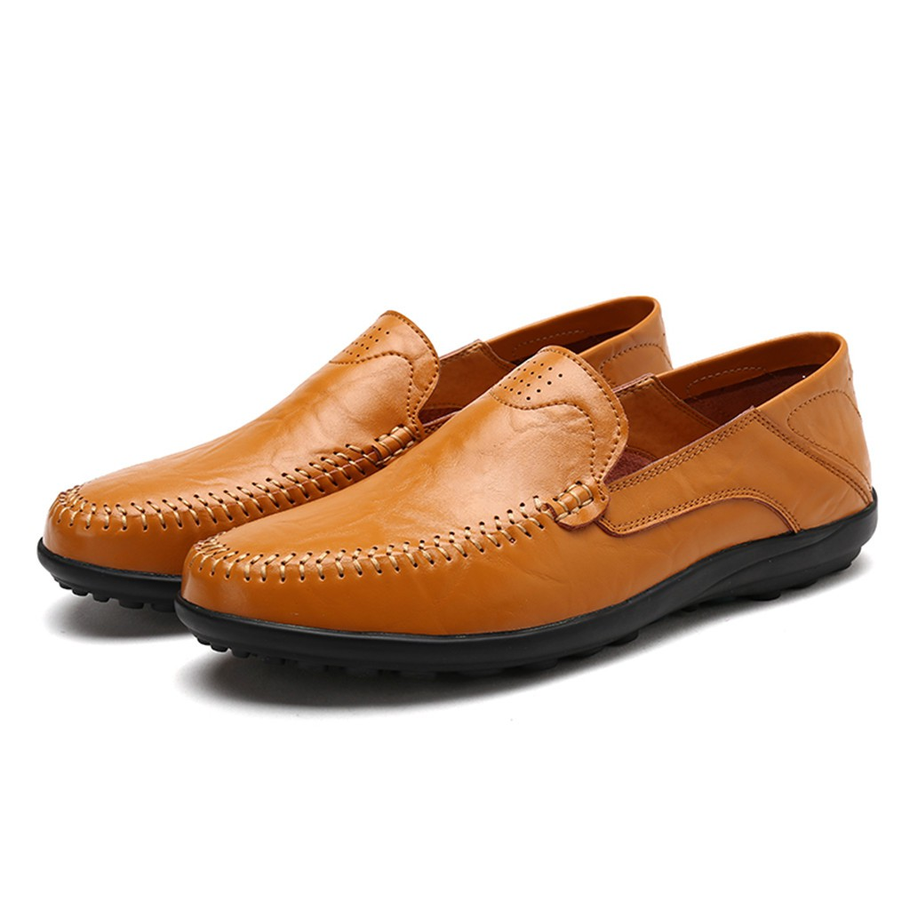 4f2a3a69ddef5 Men's Shoes Slip-ons Loafers Solid color leather peas shoes Business shoes    Shopee Malaysia