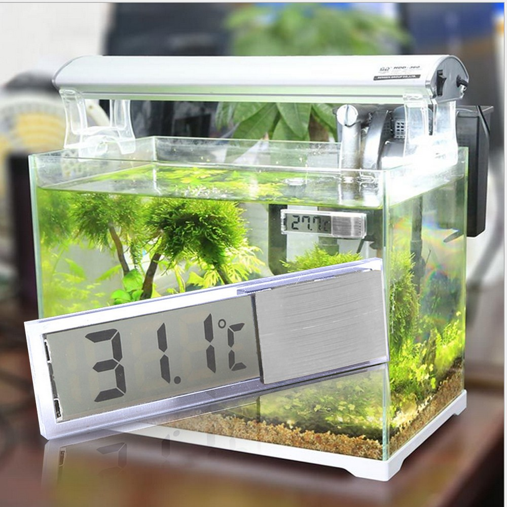 Lcd Crystal Digital Electronic Aquarium Thermometer Fish Tank Temperature Probe Meter With Self Adhesive And Led Temp Gosear