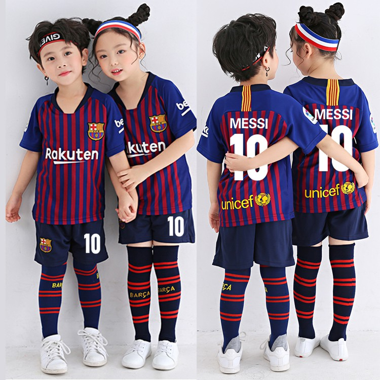 big sale 1343c e24d1 1819 Barcelona FC #10 Messi Kids Jersey Jersi Football Soccer Uniform  Sportswear