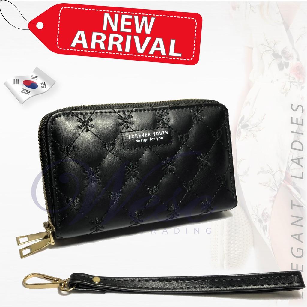 Korean Designer Trendy ALL-NEW 2-in-1 Long Zipper Purse / Women Wallet / Women Clutch / Purse (Black)