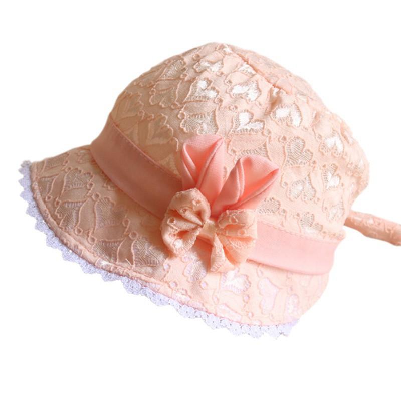Lace Ruffles Baby Girl Cap Bow Summer Cotton Princess Children Fisherman Hats