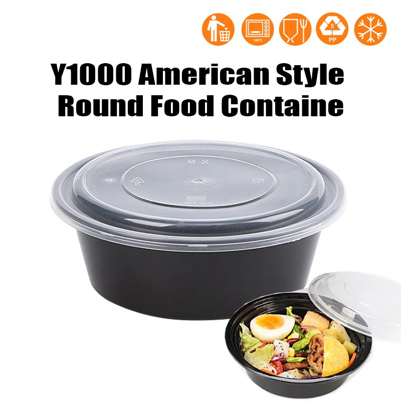 50pcs Y1000 Japanese Style Round Microwave Food Container With Lid 1000ml