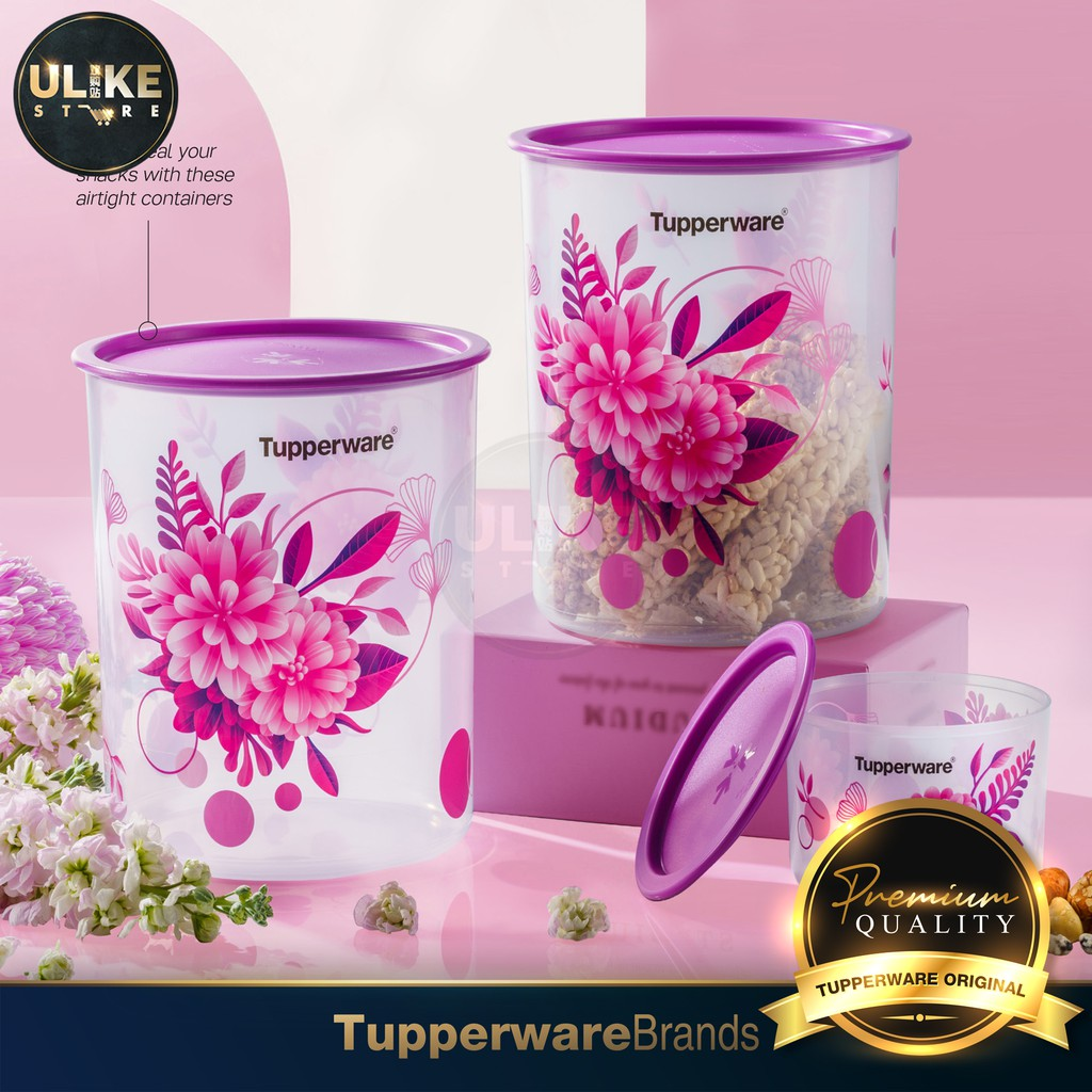 Tupperware Camellia One Touch Topper Junior 600ml / One Touch Canister Large 4.3L