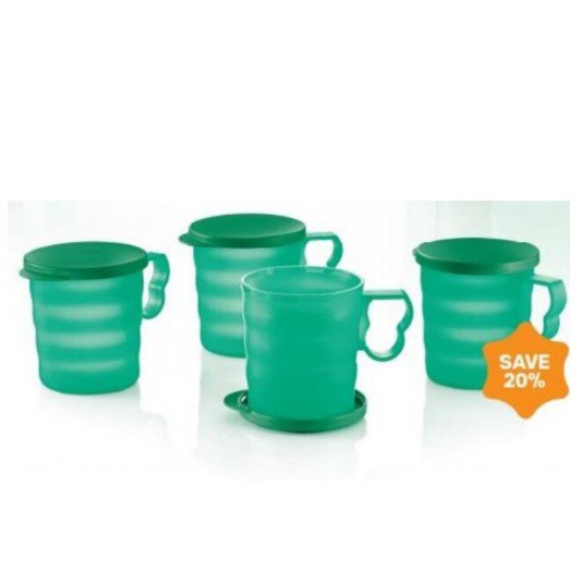 Tupperware Blossom Mugs & Seal (4) 350ml