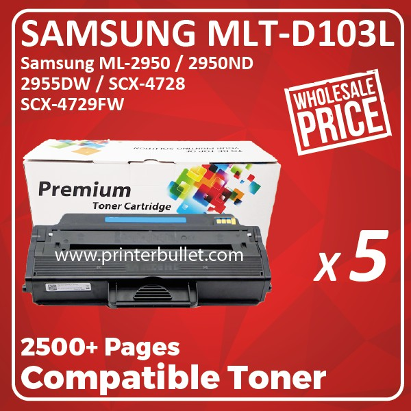5 unit Samsung 103L / MLT-D103L High Quality Compatible Toner Cartridge