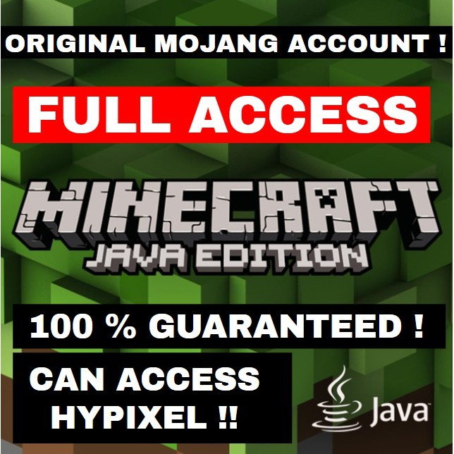 Cheapest Minecraft Java Edition Full Access Pc Premium Account 10000 Can Access Premium Servers Including Hypixel Shopee Malaysia