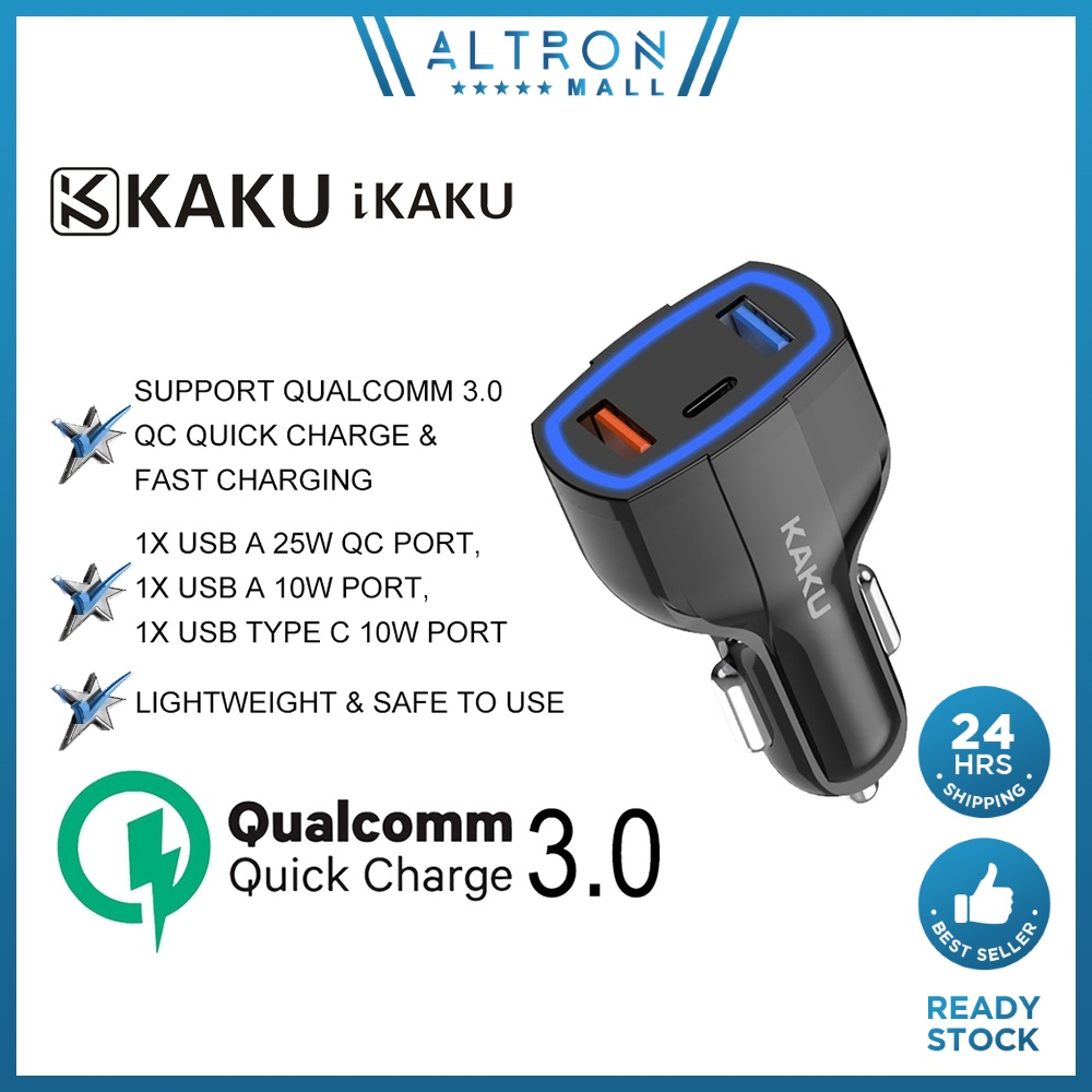 KAKU IKAKU RUILANG 20W Car Charger Dual USB A & Type C Cable Port QC Qualcomm 3.0 Quick Charge iPhone Android Smartphone