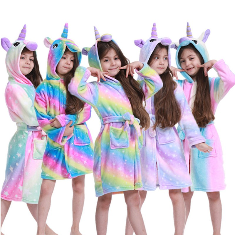 Kid Bathrobe Unicorn Robe Unisex Flannel Nightgown Hooded Sleepwear