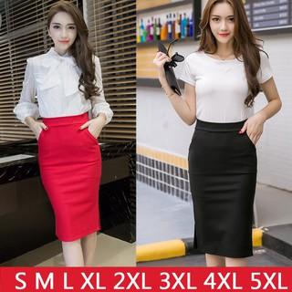 ffb267329 Plus Size Pencil Midi Skirts Womens Open Slit High Waist Skirt Black Red    Shopee Malaysia