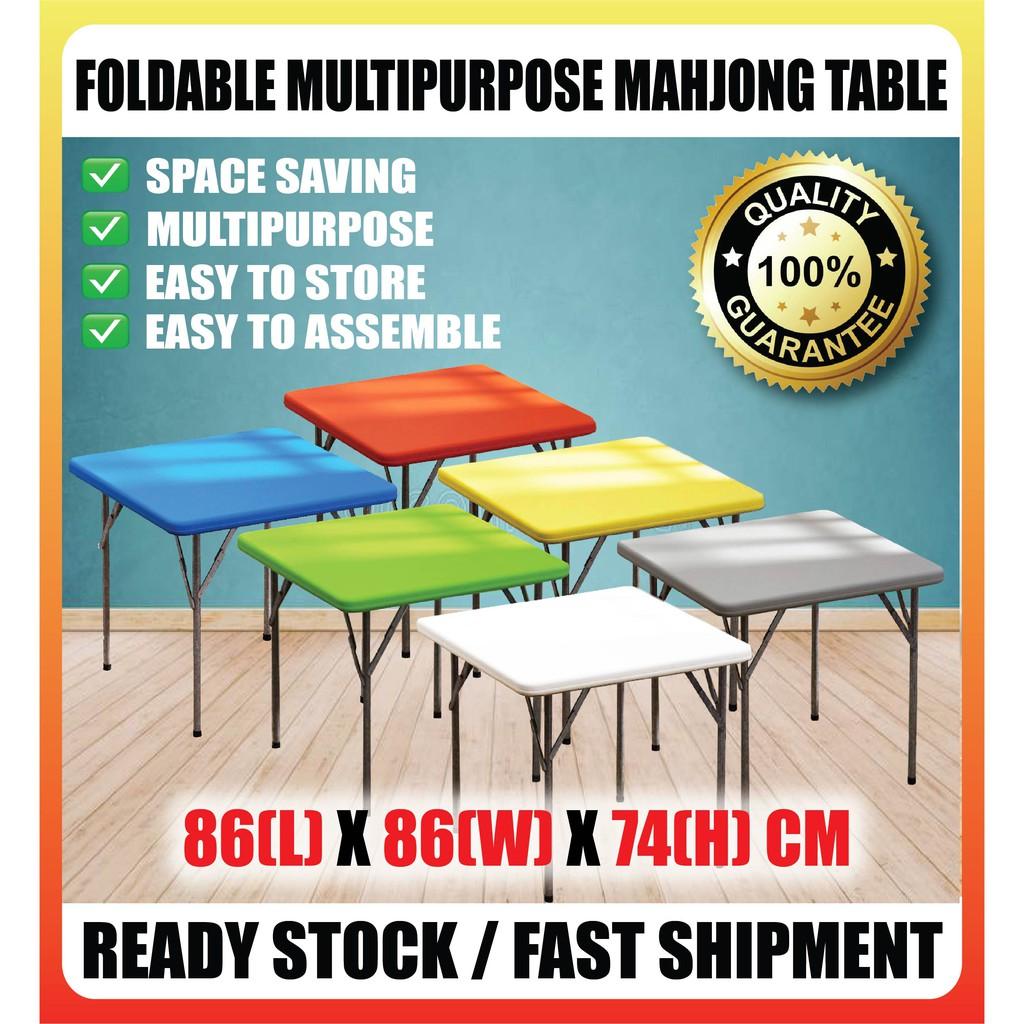 [现货]折叠桌对折方桌饭桌餐桌可收纳麻将桌四方桌车载桌手提桌户外桌 Learning Table Study Picnic Foldable Mahjong Table 86X86x74