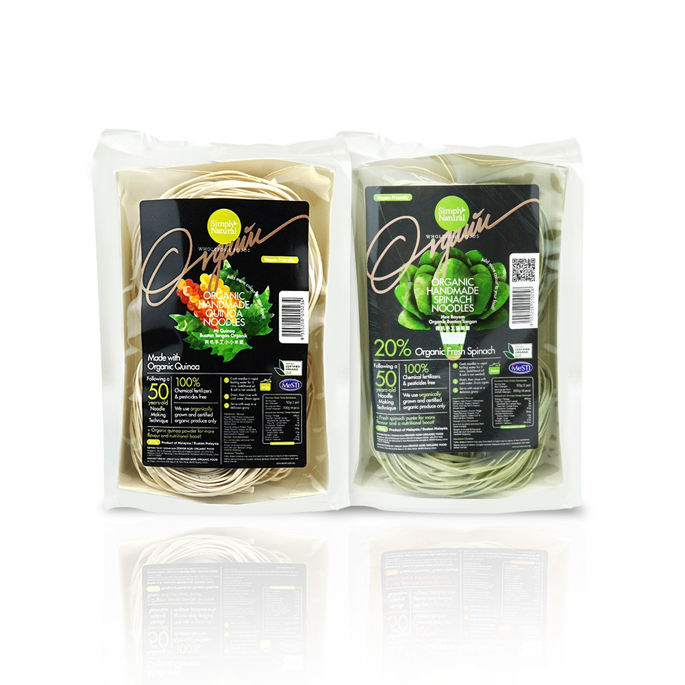 1x Quinoa and 1x Spinach Zenxin Organic Noodle| 8 serving, 400g | Nutritious | Made Fresh | No Preservative