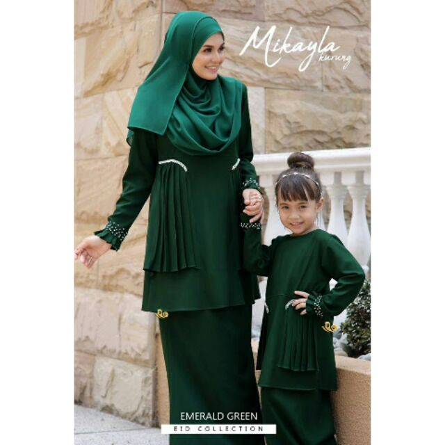 Baju Sedondon Ibu dan Anak - Kurung Mikayla MK04 Emerald Green ... 419bfc9b2c