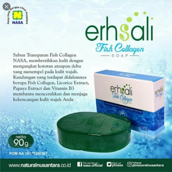 Sabun Erhsali Nasa - Erhsali Fish Collagen Soap - Sabun Cuci Muka Nasa