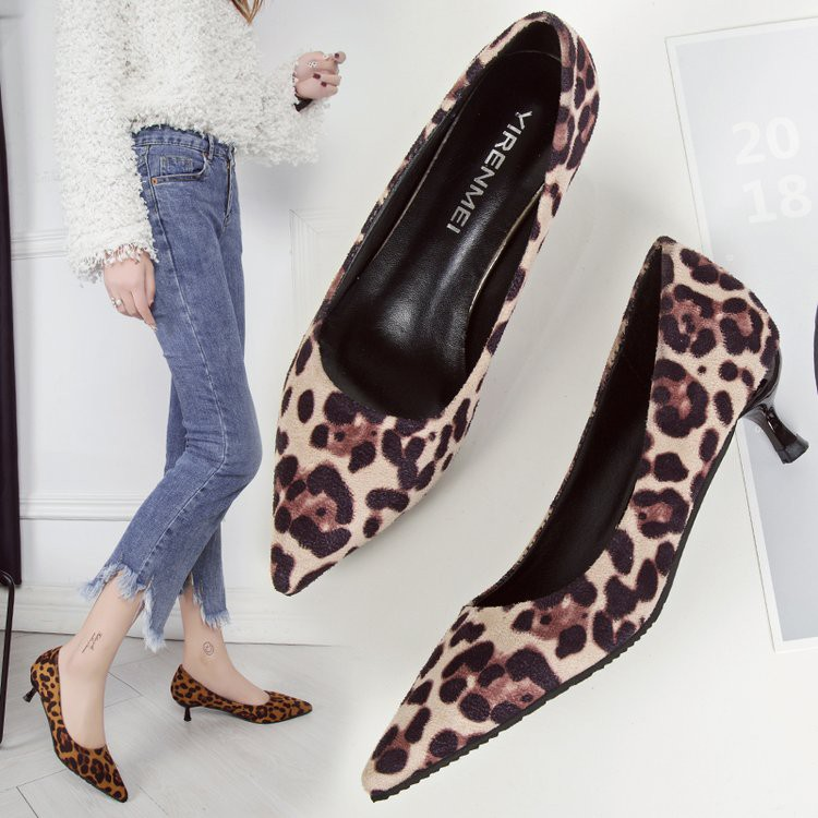 leopard pointed shallow mouth suede shoes