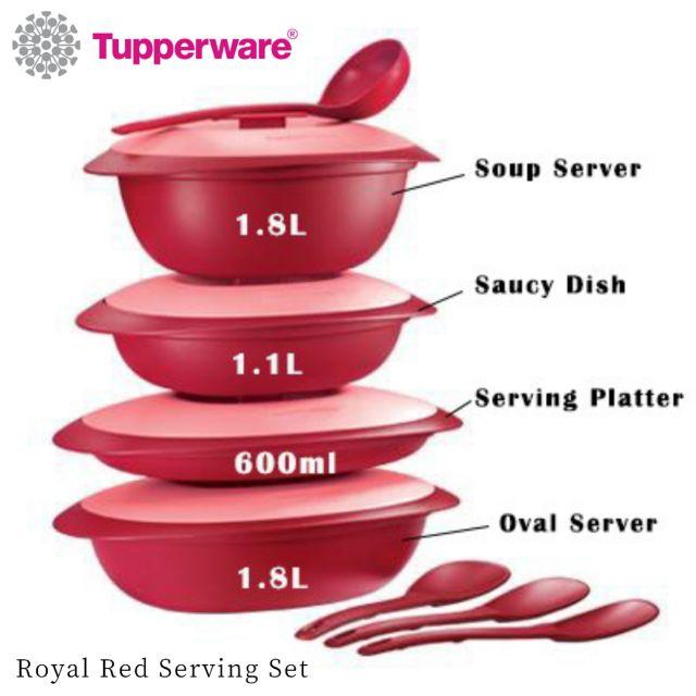 Tupperware Royal Red Serving Set