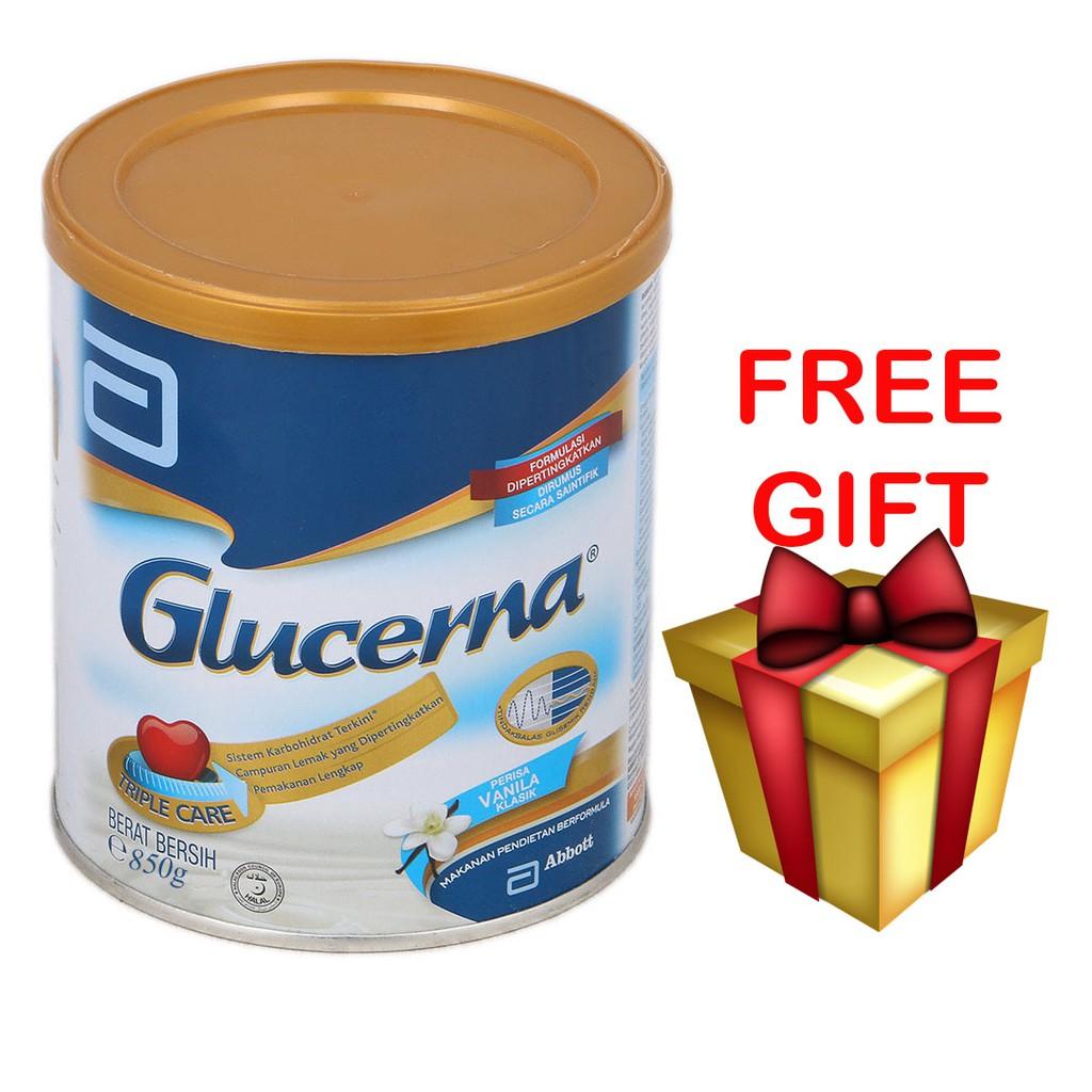 Glucerna Triple Care Milk Powder Vanilla 850g [Free Gift]