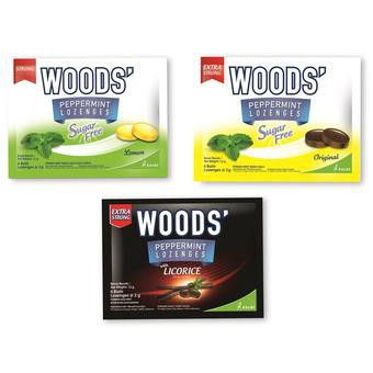 Woods Lozenges Peppermint Assorted Drops 6's (15's Per Box)