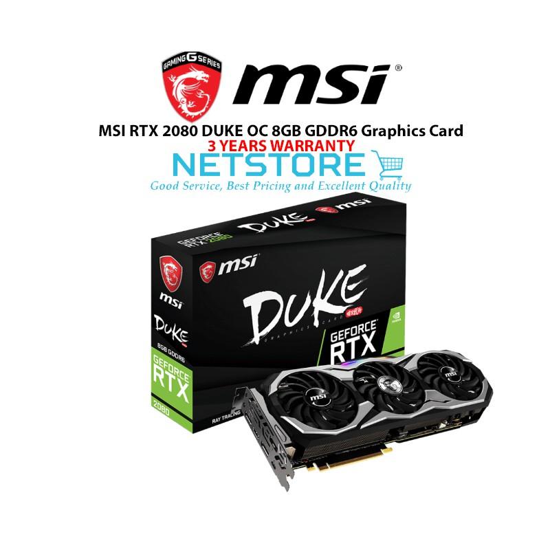 MSI RTX 2080 DUKE OC 8GB GDDR6 Graphics Card