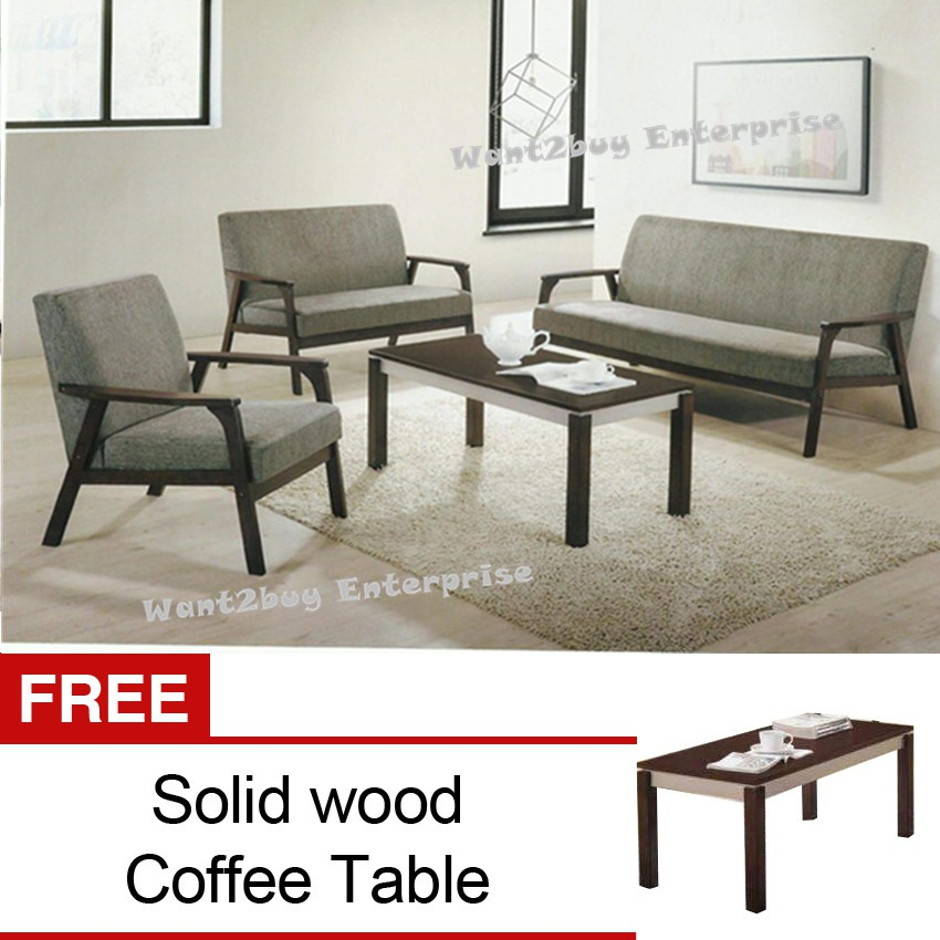 Modern Wooden Sofa: COZY New Modern Fabric 1+2+3 Wooden Sofa Set With Free