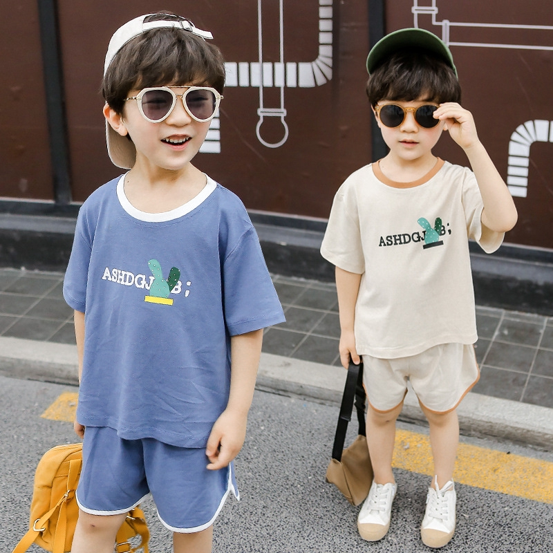 9caa55725 Boys' printing suit Korean version of children's short-sleeved T-shirt and  shorts loose two-piece set