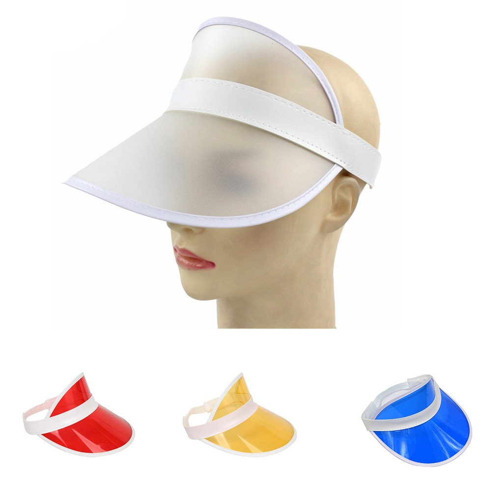 cbe6d98d3f0 Men Women Transparent Plastic Wide Brim Sun Visor Cap Sport Tennis Hat