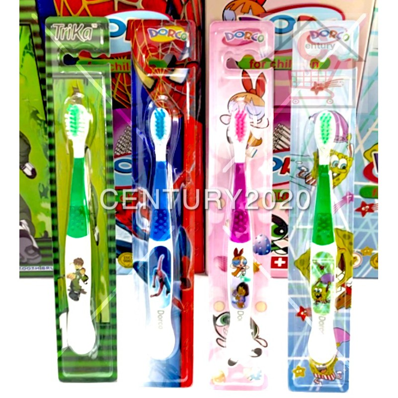 Dorco Trika Kid Toothbrush Colorful Cartoon Soft Hair Baby Kids Toddlers Girls Boys Toothbrush 1-12 Years Old