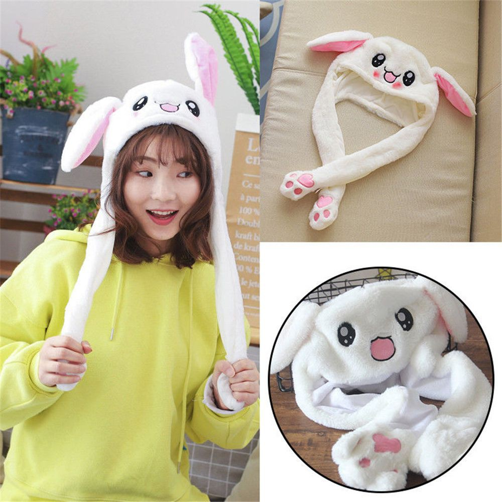 2019 Hot Sell Fashion Moving Hat Rabbit Ears Plush Sweet Cute Airbag Cap 2 Color Can Be Choose Fashionable And Attractive Packages Girl's Accessories Apparel Accessories