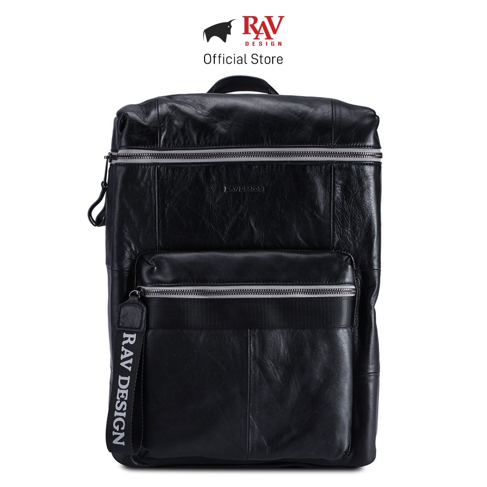 RAV DESIGN Genuine Cow Leather Backpack Laptop Bag Men Travel Bag Black |RVC455G3