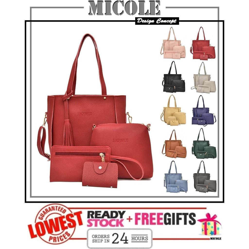 3c5e3ec8b040 Ready Stock MICOLE BS3004 4 in 1 Bag Set Handbag Women Sling Bag Shoulder  Bag