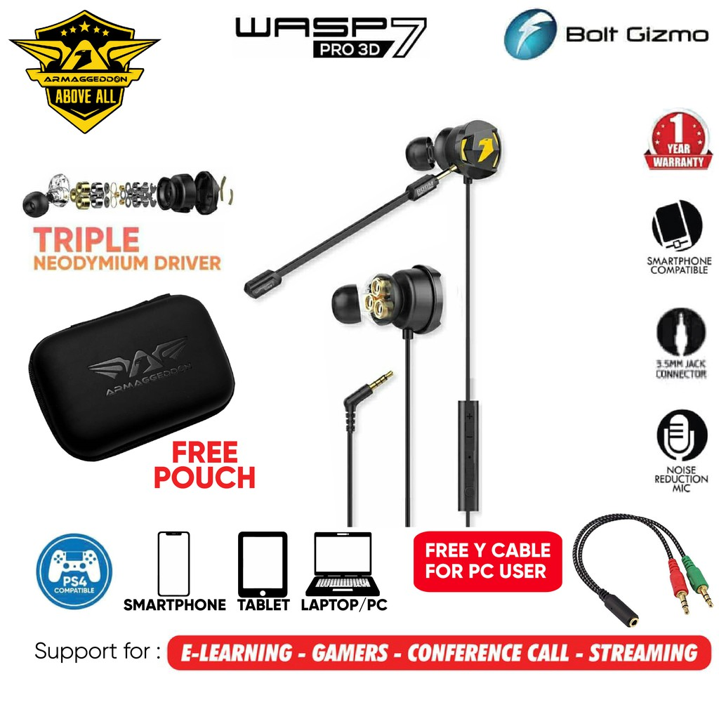 Armaggeddon WASP-7 PRO 3D Gaming Earphones with Microphone Super Bass Earbuds Earpiece Headset Headphone Mic Streaming
