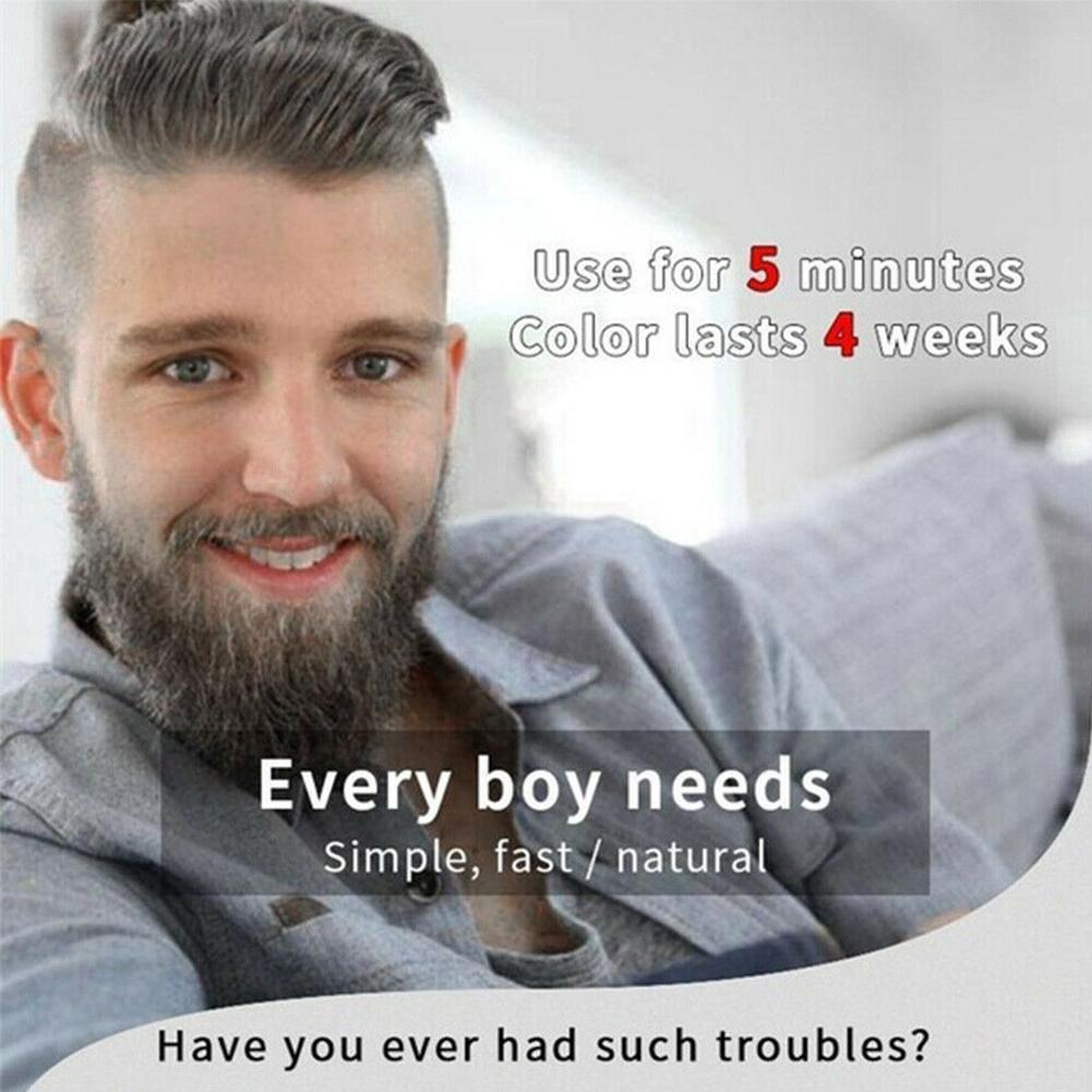 Fast Hair Coloring Black Beard Dye Mustache Blackening Shampoo Tint Cream  15ML