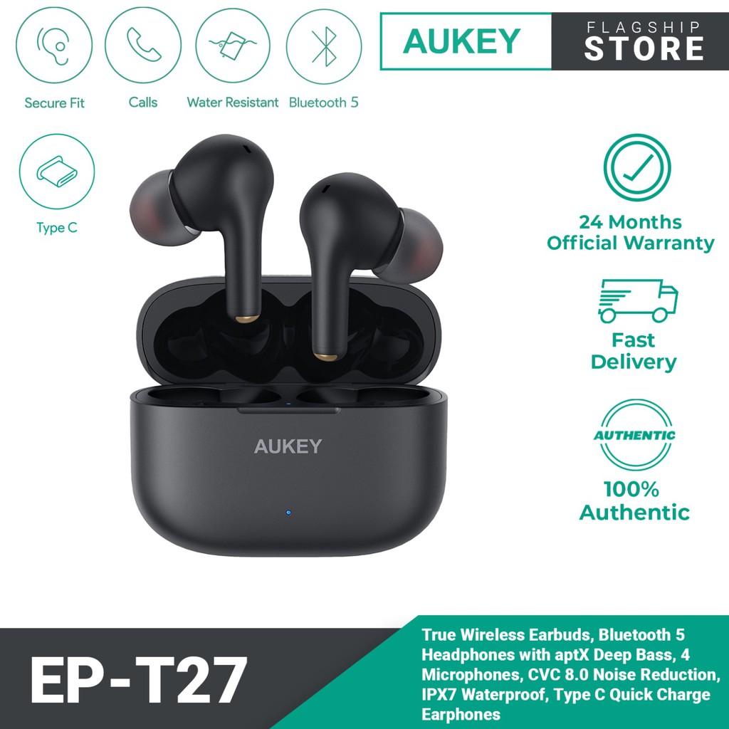 AUKEY EP-T27 True Wireless Earbuds TWS Bluetooth 5 earphone with aptX Deep Bass CVC 8.0 Noise Reduction IPX7 Waterproof