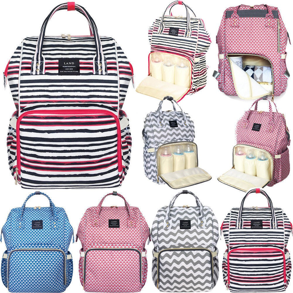 LAND Fashion Nappy Mummy Backpack Diaper Bag Baby Newborn Shoulder Bag-White   c9e409d69366d