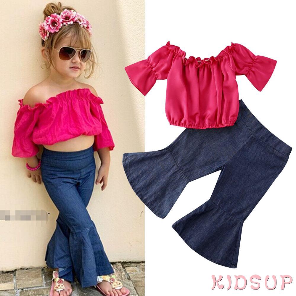 Baby Girls Off Shoulder Ruffle Denim Tops Sleeveless Lotus Leaf Collar Crop Tops Short Toddler Summer Clothes
