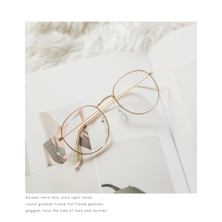 Retro ultra light fine side irregular/ / / / flat mirror girl anti-blue glasses black gold frame
