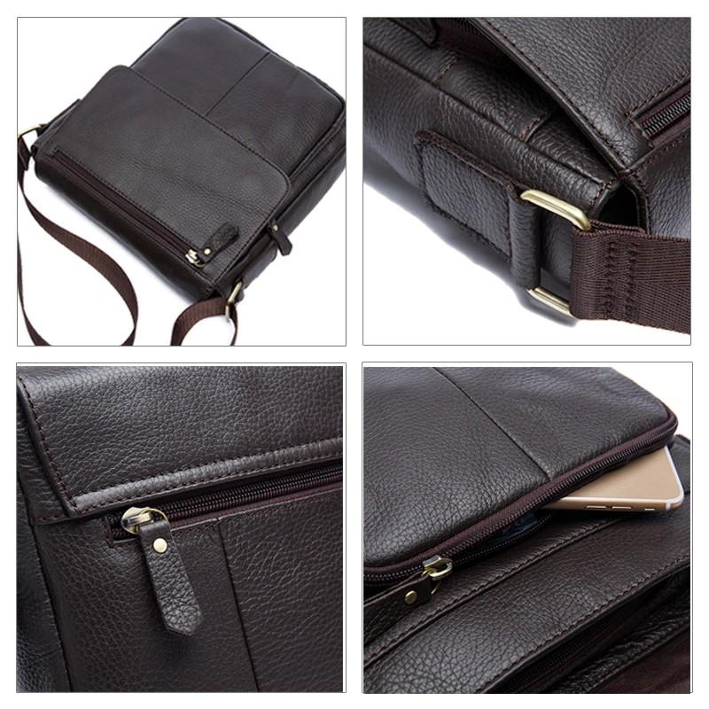 New Genuine Leather Men/'s shoulder bag Messenger Crossbody Bag J025