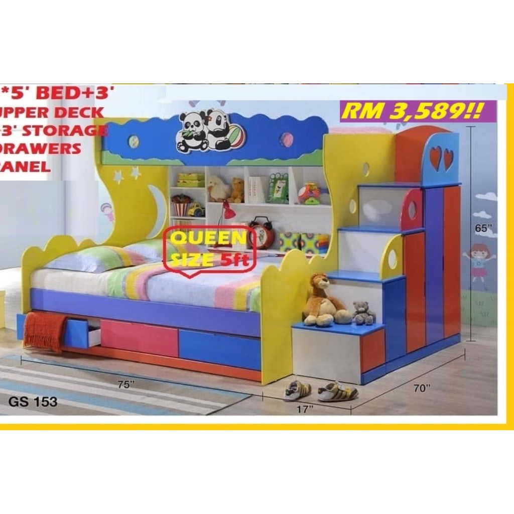 BUNK BED, CHILDREN SET COLLECTION, EXPORT SERIES, RM 3,849!! HARI RAYA OFFER SAVE 35%!! RM 2,489!!