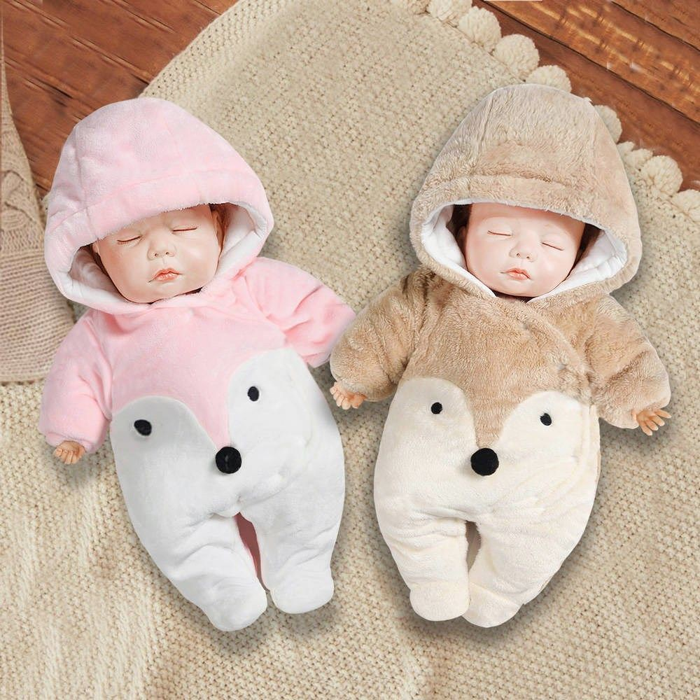 Newborn baby clothes for autumn and winter thicken baby onesies newborn  winter cotton clothes with feet out 6-6 years and March