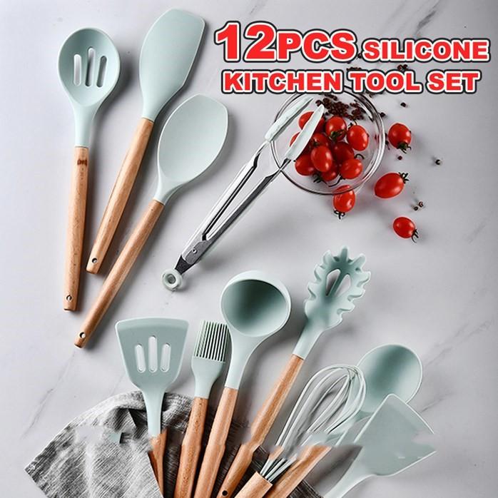 MALAYSIA STOCK🌹 12PCS/SET SILICONE TAHAN PANAS ALATAN DAPUR MEMASAK SENDUK SODEK PISAU PENGEPIT / Silicone Kitchen Tool