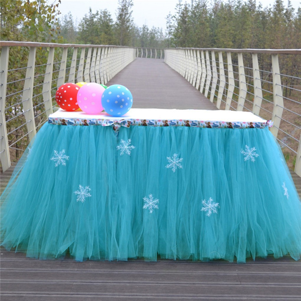 Snowflake Tutu Tulle Table Skirt Cloth for Christmas Birthday Wedding Party