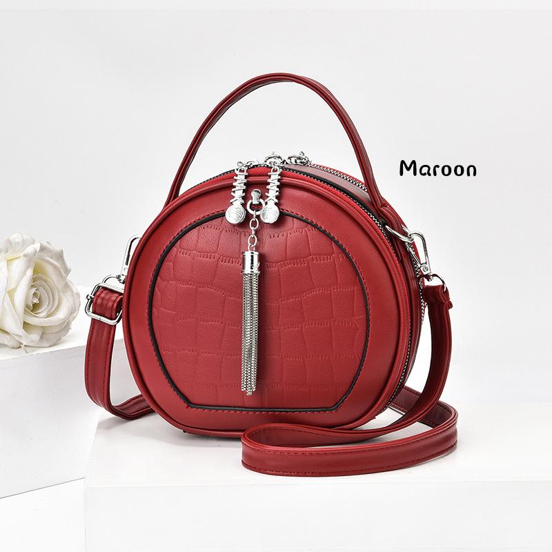 GDeal Korean Multifunctional Shoulder PU Sling Bag Small Round Bag Modern Women Dinner Mini Bag