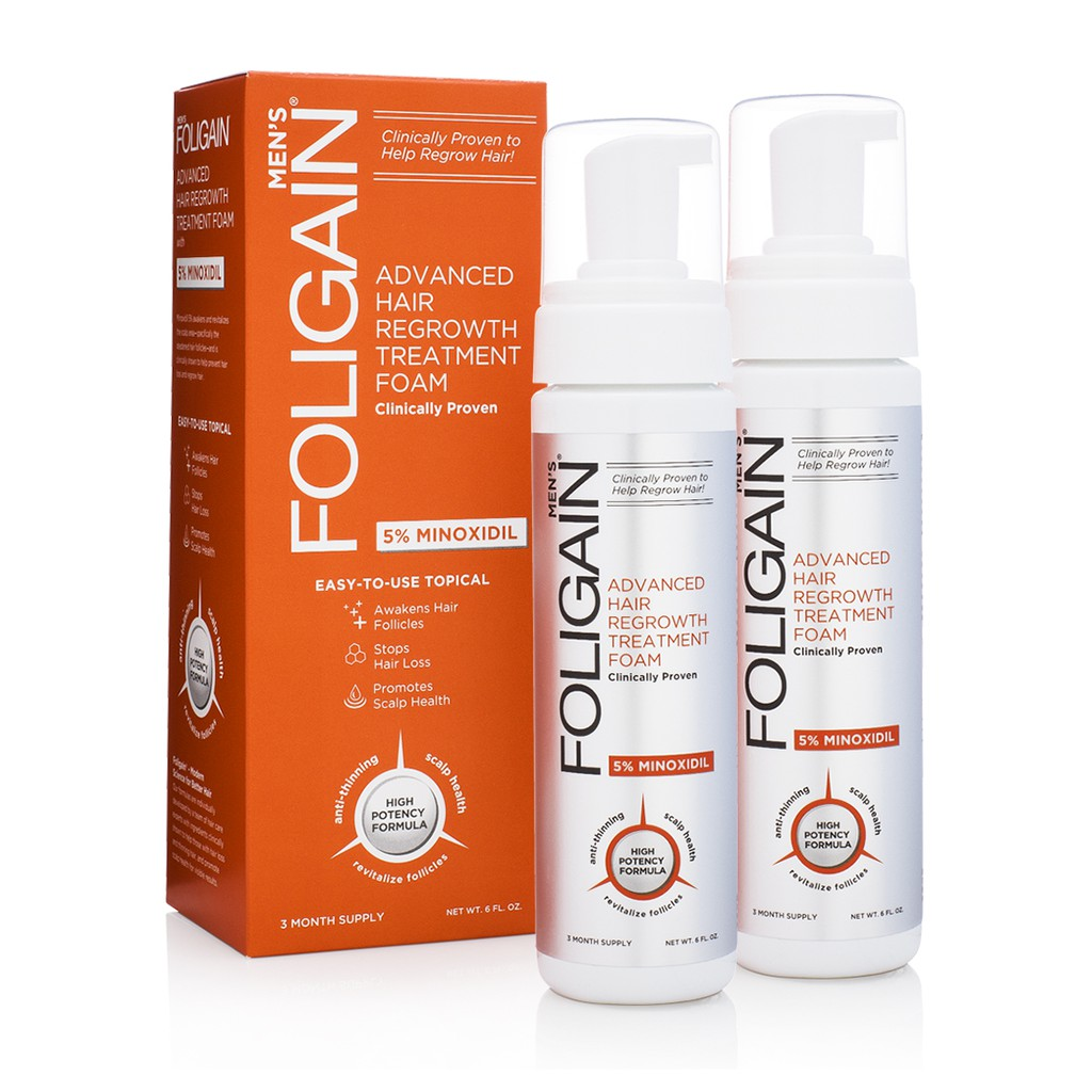 FOLIGAIN MINOXIDIL 5% HAIR REGROWTH FOAM For Men 6 Month Supply