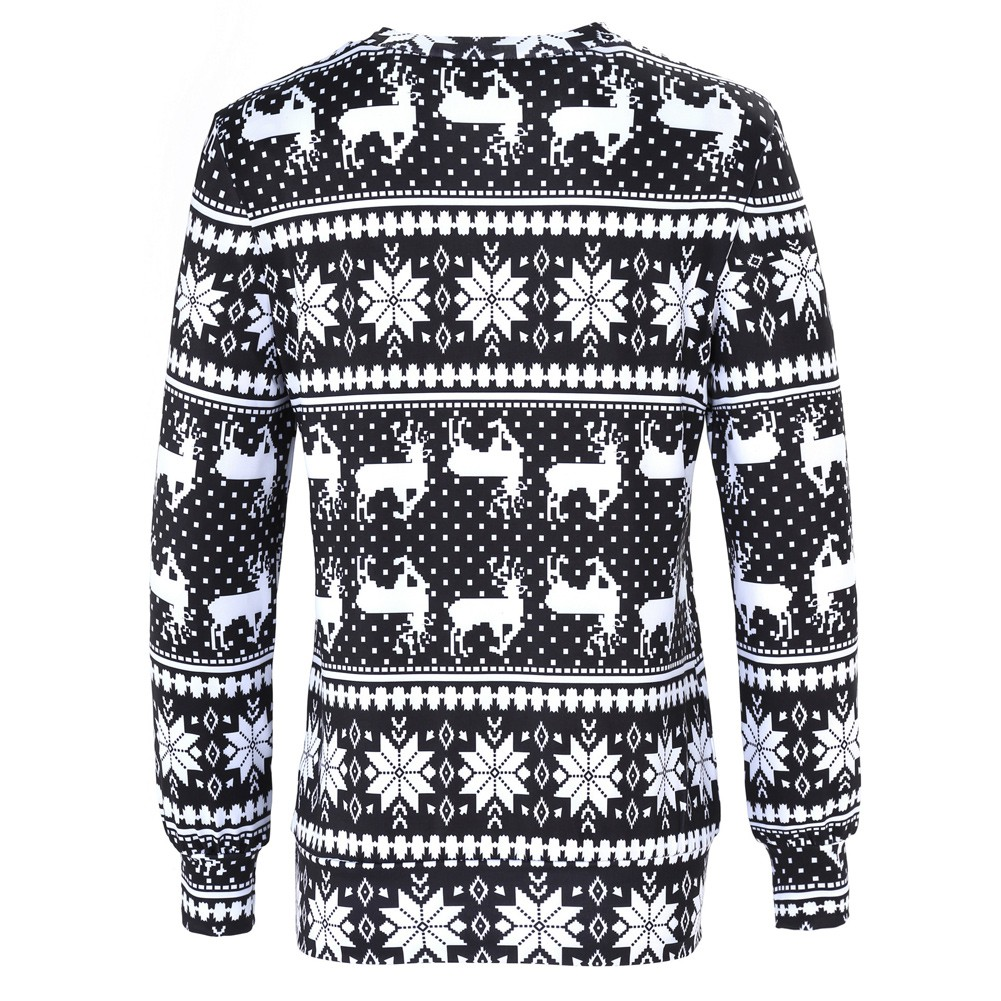 Christmas Tops.Women Sweater Reindeer Snow Print O Neck Elegant Warm Pullover Christmas Tops