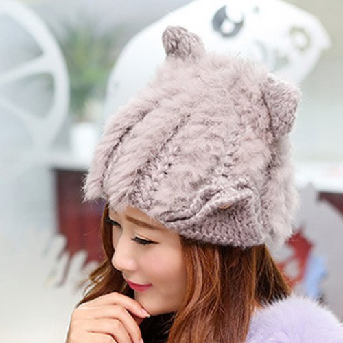 Sweet Ear Shape Solid Color Knitted Hat For Women