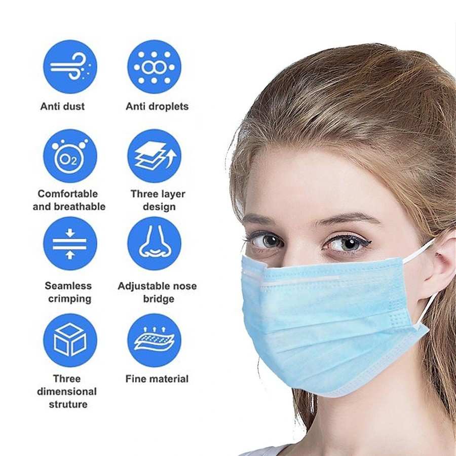 50 pcs Disposable 3 Ply Layers Earloop Virus and Dust Protection Premium Face Mask (Topeng Muka)