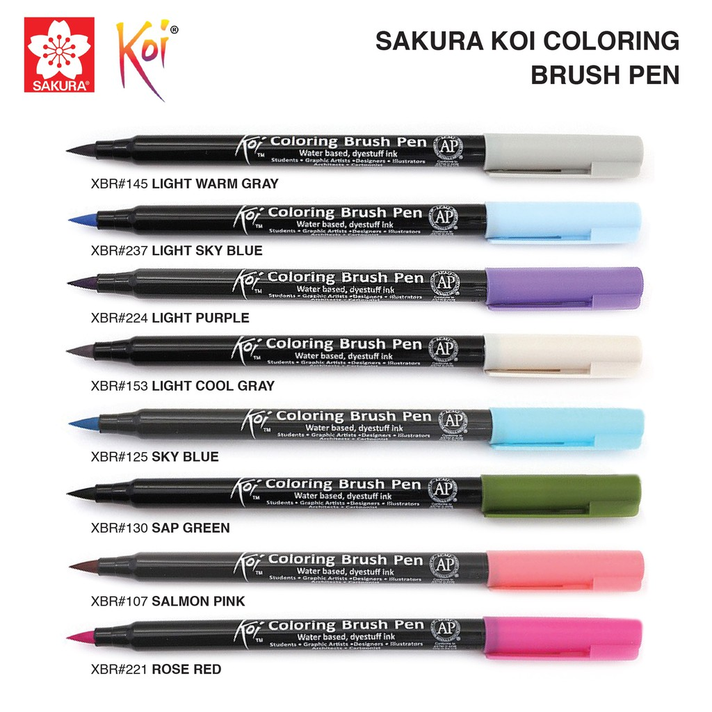 Sakura Koi Coloring Brush Pen (6/12/18) [48 colors available ...