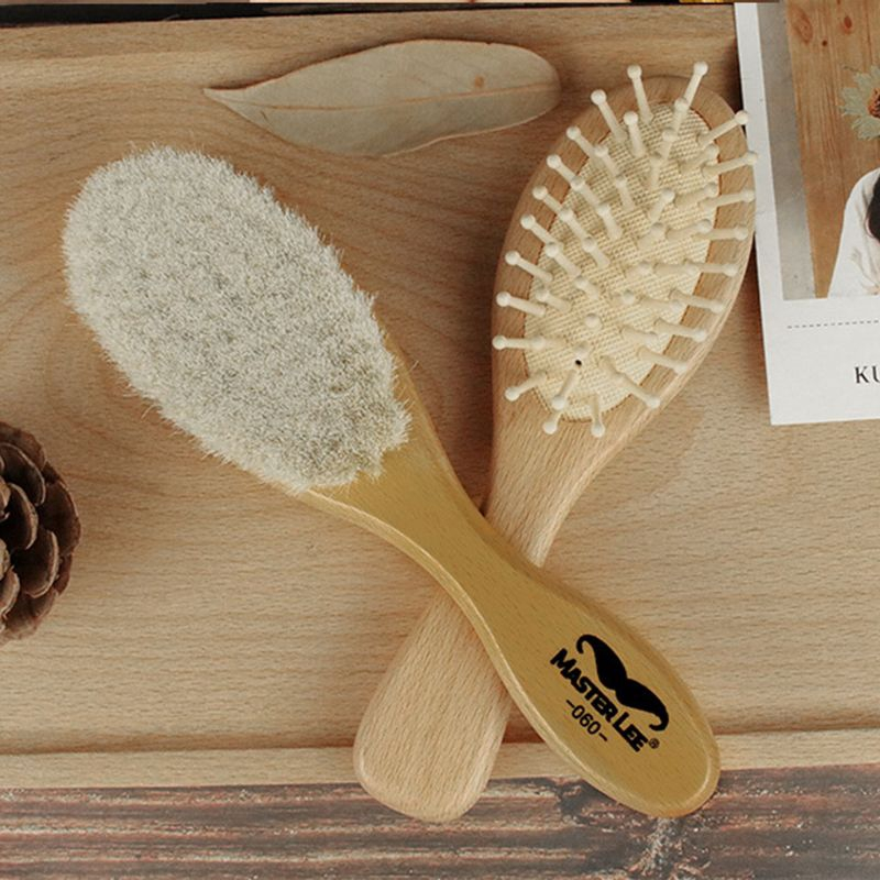 Eco Friendly Soft Goat Bristle Brush for Cradle Cap 3PCS Wooden Baby Hair Brush and Comb Set for Newborns and Toddlers Perfect for Baby Registry Gifts Natural Wooden Bristle Brush for Message