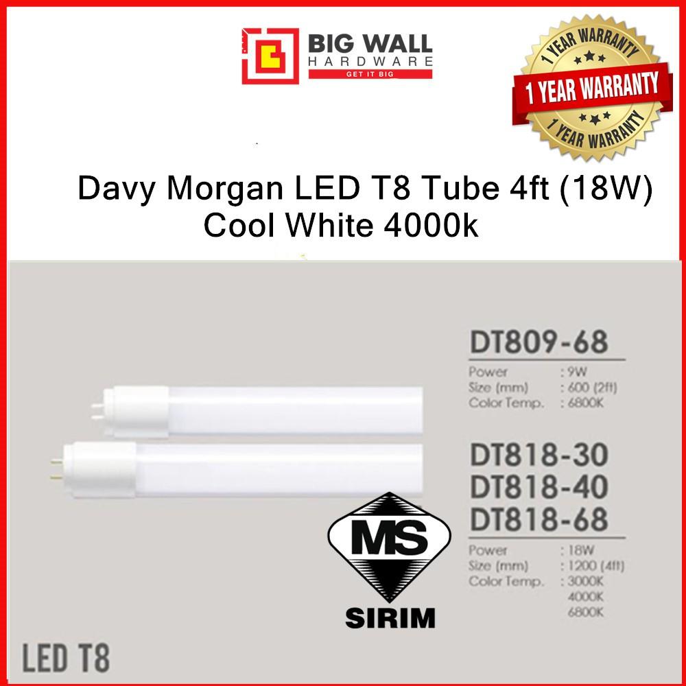 Davy Morgan LED T8 Tube 4ft (18W) Cool Daylight/Cool White/Warm White (2pcs)