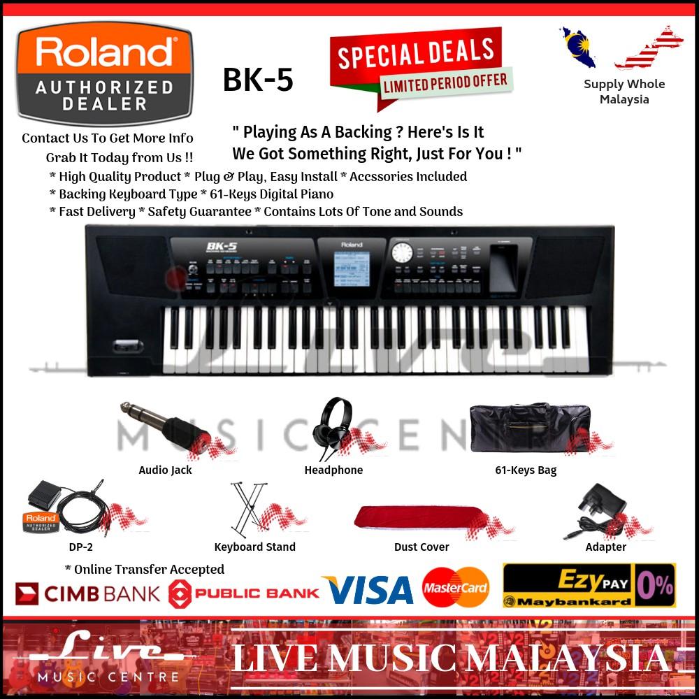 Roland BK-5 61-Keys Backing Keyboard With Bag, Keyboard Stand, DP-2 Pedal  (BK5)