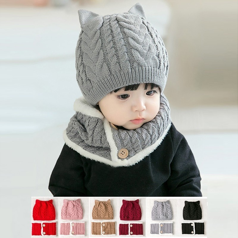 072859246 🍀babyzone🍀Winter Kids Cute Warm Solid Hat And Scarf Sets